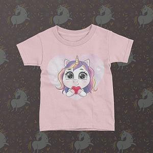 Fantasy Kids Unicorn Love Heart Kid's T-Shirt heart
