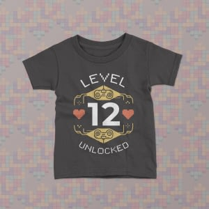 Gaming Level Unlocked Personalised Kid's Gamer Birthday T-Shirt birthday