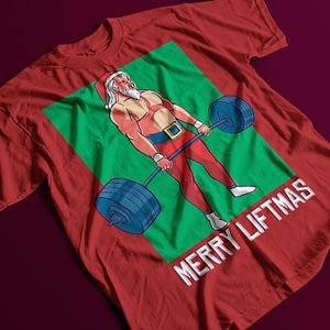 Christmas Merry Liftmas Santa Adult's T-Shirt christmas. santa