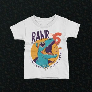Personalised Personalised Dinosaur Rawr Kid's Birthday T-Shirt dinosaur kids