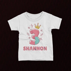 Personalised Personalised Princess Kid's Birthday T-Shirt birthday
