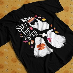 Halloween Stay for a Spell Halloween Adult's T-Shirt ghosts