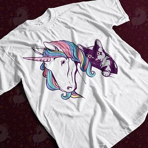 Animals & Nature Unicorn and Cat Friends Adult's T-Shirt cat