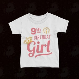 Personalised Personalised Birthday Girl with Crown Kid's T-Shirt birthday