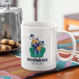 Family Mugs Outnumbered Dad of Girls Mug dad