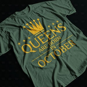 Personalised Queens are Born in – Personalised Adult's T-Shirt birthday