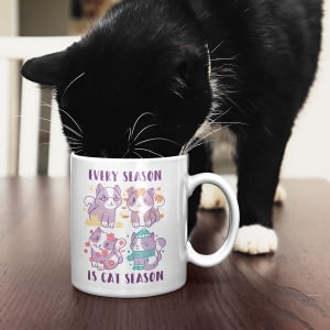 Animal Mugs Every Season is Cat Season Mug cat