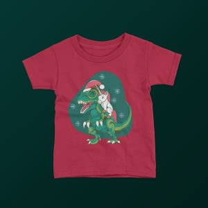Christmas Kids Unicorn T-Rex Christmas Kid's T-Shirt christmas dinosaur