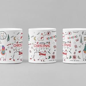 Animal Mugs Merry Christmas Llama Mug christmas