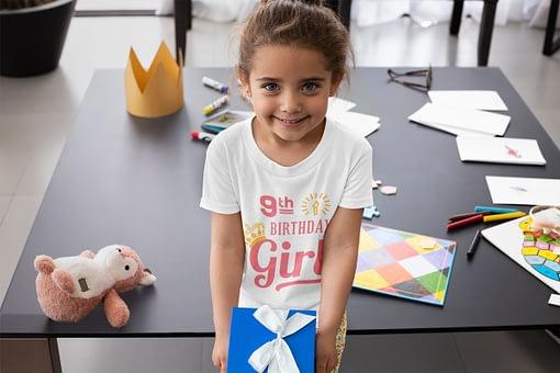 Personalised Personalised Birthday Girl with Crown Kid's T-Shirt birthday