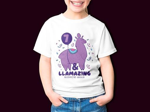 Personalised Llamazing Llama Personalised Kid's Birthday T-Shirt birthday