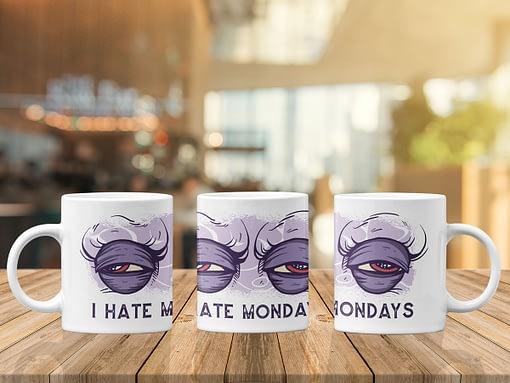 Funny Mugs I Hate Mondays Mug eyes