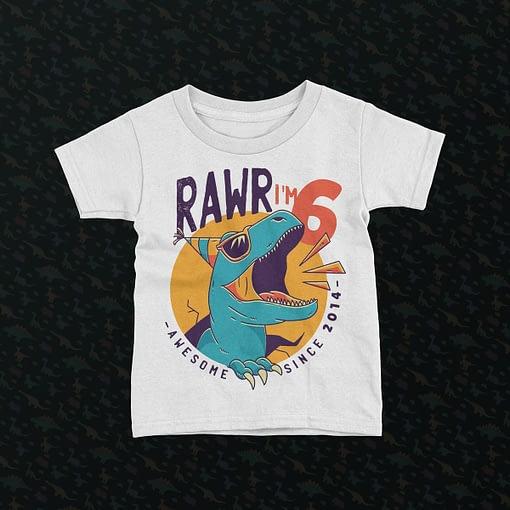 Personalised Personalised Dinosaur Rawr Kid's Birthday T-Shirt dinosaur kids