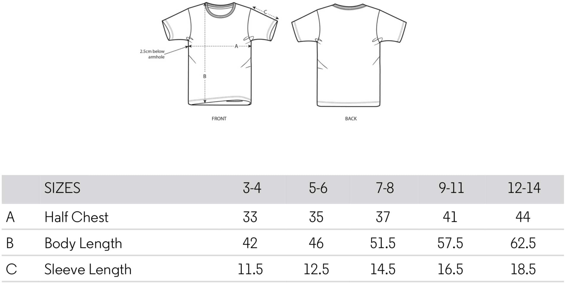 Kids T-Shirt Sizing Table